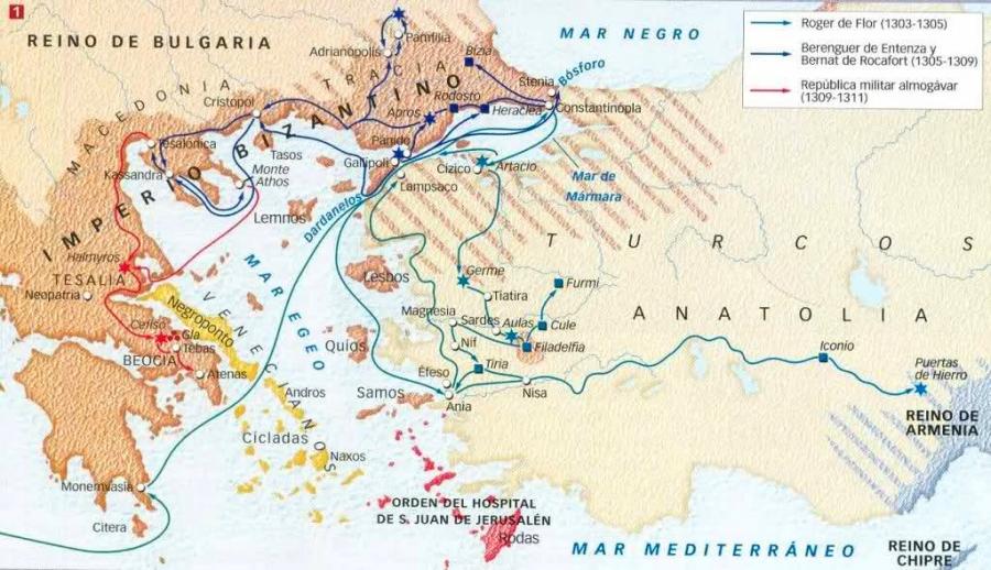 Mapa almogávares por oriente