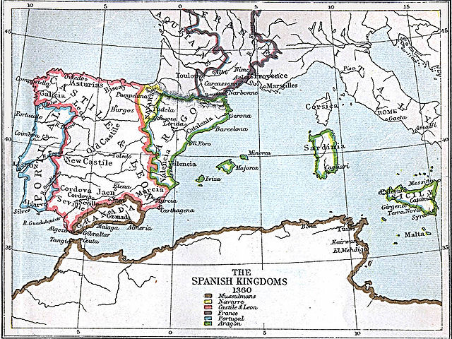 MAPA PENÍNSULA IBÉRICA 1360