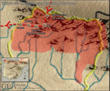Máxima extensión territorial del reino de Aragón durante el reinado de Sancho Ramírez.