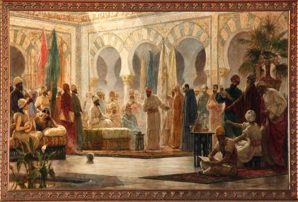 Hasday Ibn Shaprut en la Corte de Abderramán III. Cuadro de Dionís Baixeras