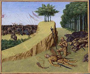 Cuadro Muerte de Roldán de Jean Fouquet (s. XV). En él se representa la muerte del noble Roldán en la batalla de Roncesvallés.