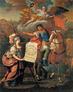 Cuadro del siglo XVIII de Juan Andrés Merklein que representa a Minerva entregando los planos de la Universidad de Huesca a Sertorio.