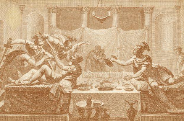 La muerte de Sertorio, grabado de MYRIS Silvestre David, Figures de l ' histoire de la République romaine, accompagnées d ' un précis historique, París, 1799, número 141.