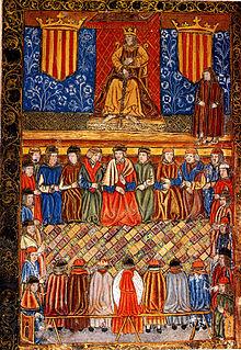 Fernando II presidiendo unas cortes de 1495